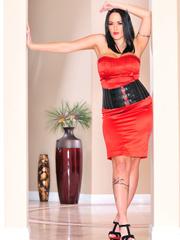 Classy brunette with arm tattoo in sexy dress and - XXXonXXX - Pic 6