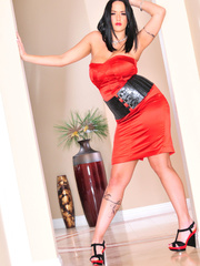 Classy brunette with arm tattoo in sexy dress and - XXXonXXX - Pic 10