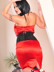 Classy brunette with arm tattoo in sexy dress and - XXXonXXX - Pic 12