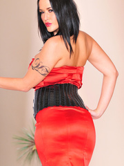 Classy brunette with arm tattoo in sexy dress and - XXXonXXX - Pic 13