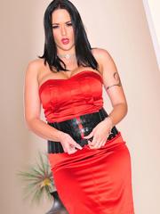 Classy brunette with arm tattoo in sexy dress and - XXXonXXX - Pic 14