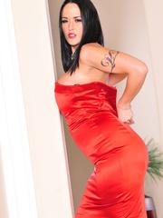 Classy brunette with arm tattoo in sexy dress and - XXXonXXX - Pic 15