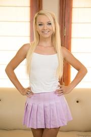 playful blonde pink skirt