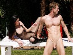 Super hot brunette in black transparent body suit - XXXonXXX - Pic 1