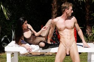 Super hot brunette in black transparent body suit absolutely adores outdoor hardcore - XXXonXXX - Pic 1
