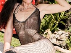 Super hot brunette in black transparent body suit - XXXonXXX - Pic 5