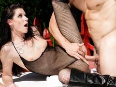 Super hot brunette in black transparent body suit - XXXonXXX - Pic 11