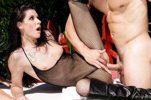 Super hot brunette in black transparent body suit absolutely adores outdoor hardcore - XXXonXXX - Pic 11