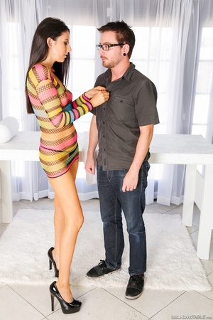 Brunette in sexy colorful neat gets her first cock milking hot showering - XXXonXXX - Pic 2