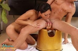Asian masseuse makes a guy happy by sucking his hard schlong - XXXonXXX - Pic 13