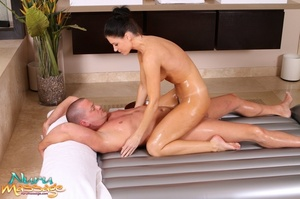 Alluring brunette gets her fanni fucked after giving a guy a massage - XXXonXXX - Pic 8