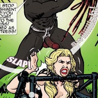 Mistress in black fishnet puts a blonde - BDSM Art Collection - Pic 3
