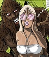 Blonde's white bikini top is pulled down by a furry beast who grabs