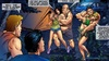 Busty girls with voluptuous bodies are manhandled at a campground at night.