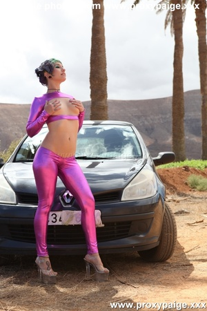 Naughty teen in purple cosplay fisting her shitty hole and toying it on the car hood outdoors - XXXonXXX - Pic 1