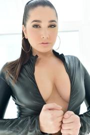 wonderful brunette black leather