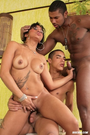 Cute brunette with a huge tattoo on her stomach doing some nasty double penetration with two guys just enough bi to fuck in the ass - XXXonXXX - Pic 5