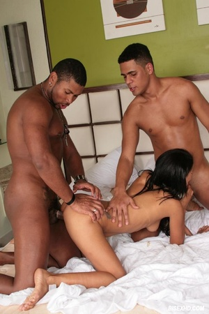 He cums all over this brunette's tits as a guy fucks him in the ass - XXXonXXX - Pic 16