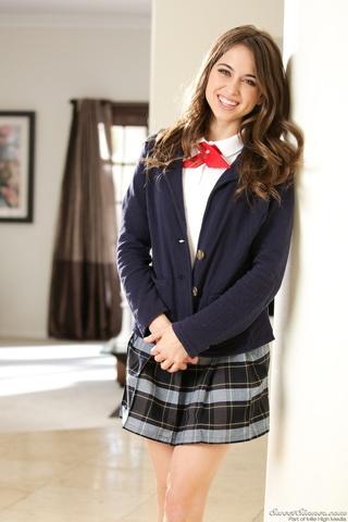 naughty brunette schoolgirl wearing
