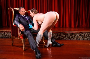 Sexy brunette with blue gloves grabs the massive cock of an old pervert and gets drilled - XXXonXXX - Pic 1