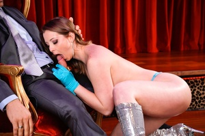 Sexy brunette with blue gloves grabs the massive cock of an old pervert and gets drilled - XXXonXXX - Pic 2