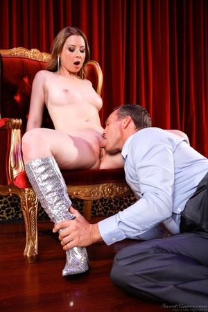 Sexy brunette with blue gloves grabs the massive cock of an old pervert and gets drilled - XXXonXXX - Pic 4