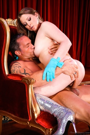 Sexy brunette with blue gloves grabs the massive cock of an old pervert and gets drilled - XXXonXXX - Pic 5