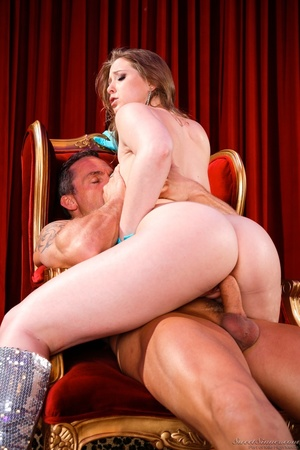 Sexy brunette with blue gloves grabs the massive cock of an old pervert and gets drilled - XXXonXXX - Pic 7