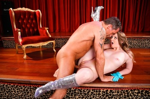 Sexy brunette with blue gloves grabs the massive cock of an old pervert and gets drilled - XXXonXXX - Pic 12