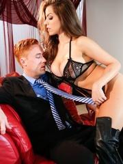 Brunette in black lingerie strips the suit and tie - XXXonXXX - Pic 1