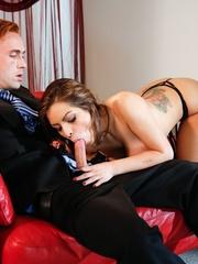 Brunette in black lingerie strips the suit and tie - XXXonXXX - Pic 4