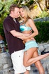 Blonde slut with light blue skirt gets seduced by a horny guy letting