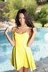 short yellow dress taken