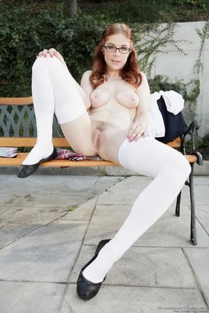 White stockings redhead taking off a schoolgirl uniform - XXXonXXX - Pic 12