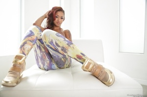 Photoshoot with a black chick in Van Gough inspired pants - XXXonXXX - Pic 3