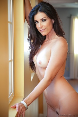 Hazel-eyed brunette MILF taking off her pink lingerie - XXXonXXX - Pic 13