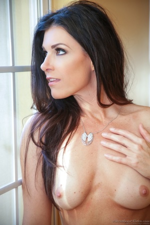 Hazel-eyed brunette MILF taking off her pink lingerie - XXXonXXX - Pic 15