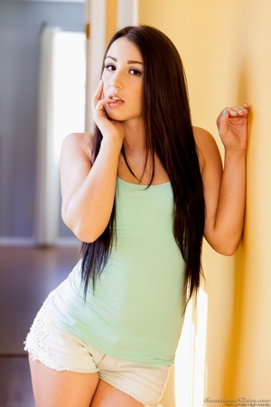 Brunette with jet-black hair posing naked in a hallway - XXXonXXX - Pic 1