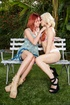 Outdoors making-out session with two flat-chested babes