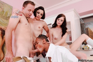 A pair of small tits cunts joined two guys and having bisexual gang banging on the couch - XXXonXXX - Pic 4