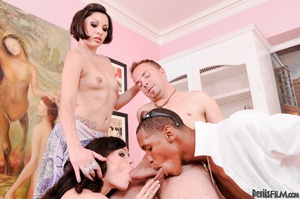 A pair of small tits cunts joined two guys and having bisexual gang banging on the couch - XXXonXXX - Pic 7