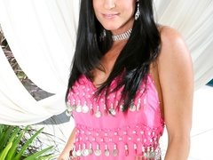 Black haired lass in pink indian outfit teasing on - XXXonXXX - Pic 1