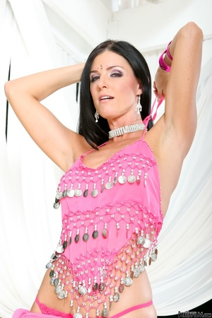 Black haired lass in pink indian outfit teasing on a cam outdoors - XXXonXXX - Pic 11