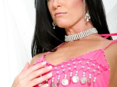 Black haired lass in pink indian outfit teasing on - XXXonXXX - Pic 12