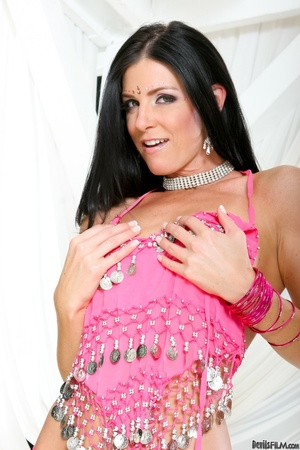 Black haired lass in pink indian outfit teasing on a cam outdoors - XXXonXXX - Pic 13