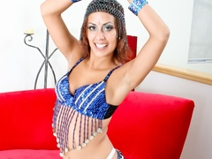Brown eyed brunette in blue exotic outfit posing - XXXonXXX - Pic 4
