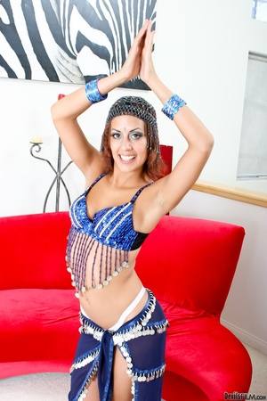 Brown eyed brunette in blue exotic outfit posing on the floor and flashing her white panty - XXXonXXX - Pic 4