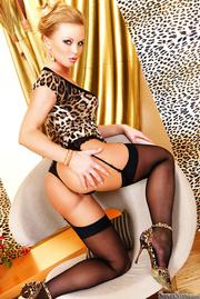 lavish blonde leopard printed