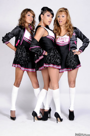 three t-girls cheerleader outfit