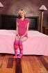 blonde teen pink t-shirt